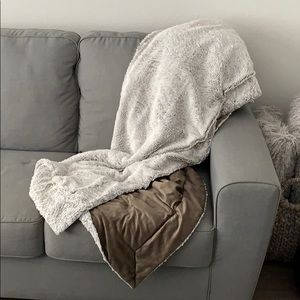Other - Light Gray & Brown Fuzzy Blanket Throw Reversible